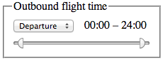 A control group with the label 'Outbound flight time', showing a drop-down that lets you select Departure vs Arrival, a two-handled range control that lets you set the start and end time of the range, and a label showing the currently selected times.