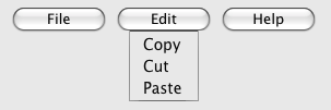 A toolbar with three buttons, labeled 'File', 'Edit', and 'Help'; where if you select the 'Edit' button you get a drop-down menu with three more options, 'Copy', 'Cut', and 'Paste'.