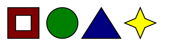 A line with four shapes in it, equally spaced: a red hollow box, a green circle, a blue triangle, and a yellow four-pointed star.