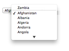 The same drop-down control with the alphabetical list of countries, but with Zambia as an entry at the top.